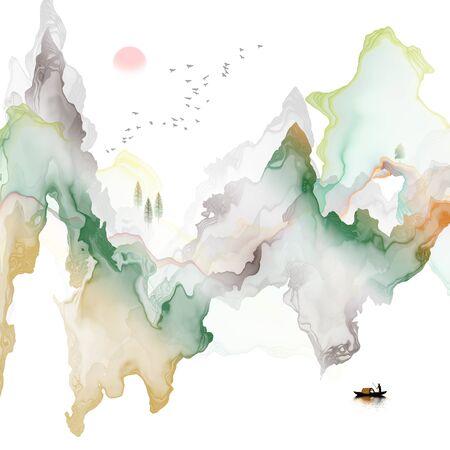 Abstract ink line landscape background Standard-Bild - 137035736