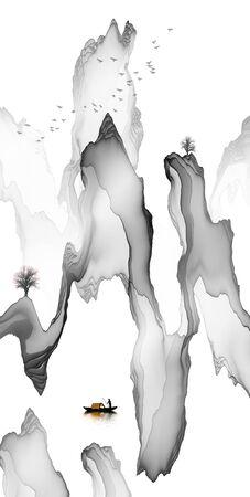 Abstract ink line landscape background Standard-Bild - 137035821