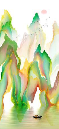 Abstract ink line landscape background Standard-Bild - 137035832