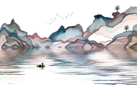 Ink landscape painting Standard-Bild - 137930867