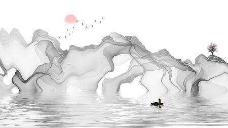 abstract Ink landscape Standard-Bild - 137931165