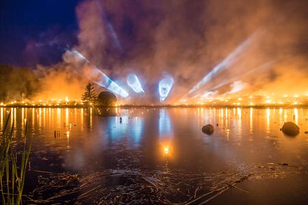 Light tubes from horizon - Leigo Lake Music Festival