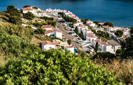 L'Escala blue bay between mountains from top of the hill Stock Photo - 87636772