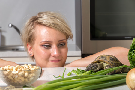Woman stares at tortoise eating salad