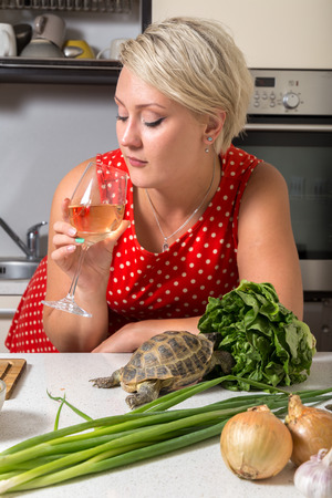 Girl looking  at wine glass while tortoise eats salad Stock Photo