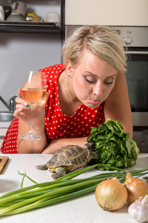 Female is surprised on tortoise who is eating salad Stock Photo - 87636784