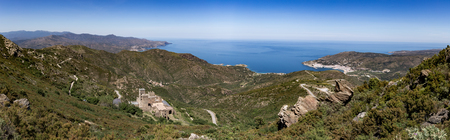 Panorama from top of Serra De Roses hill of  Sant Pere de Rodes monastery and Selva city