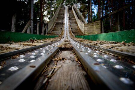 Old abandoned ski jump tower