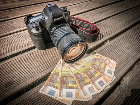 Camera on top of pile of euro cash