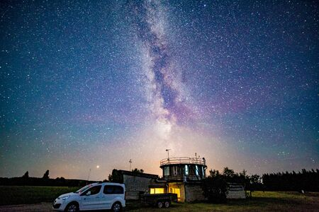 Weather station with milky way galaxy Stock Photo