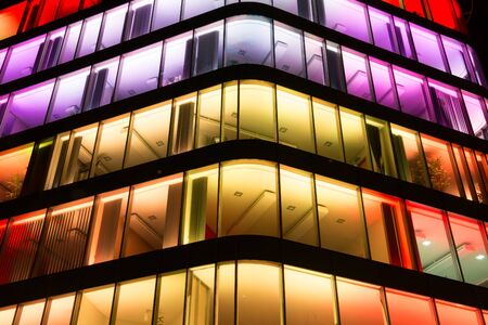 Colorful buildings glass wall