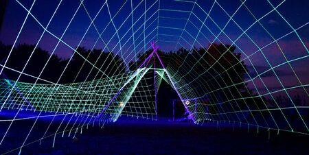 Lit up neon led pathway