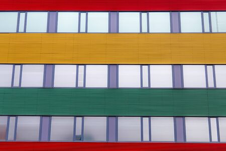 Striped colored outside office wall