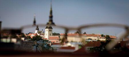 Tallinn medieval old town seen through glasses