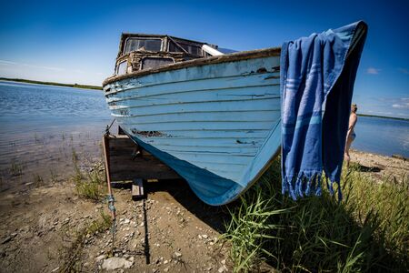 Close up of old wooden boat
