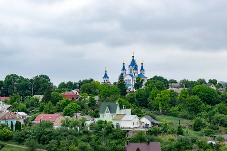 Temple of St. George on a hill in Kamianets-Podilskyi city. Orthodox Church of Ukraine Archivio Fotografico