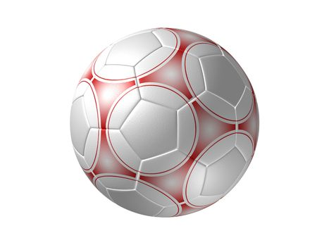 Soccer ball with alternative painting, isolated red photo