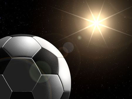 Soccer ball in space like planet