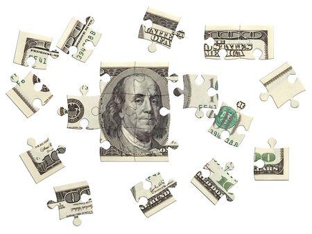 100 dollar bill, onvolledige puzzel, 3D maken over wit, geïsoleerde Stockfoto - 706506