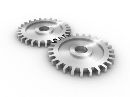 worm gear: Gear set over white, 3d render