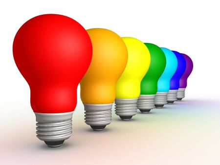 Colored bulbs in a row on a white background, 3D render Stock Photo - 759482