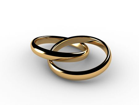 simulate: 3D wedding rings joined together. I had to simulate physics to lay these rings so they would look natural. Stock Photo