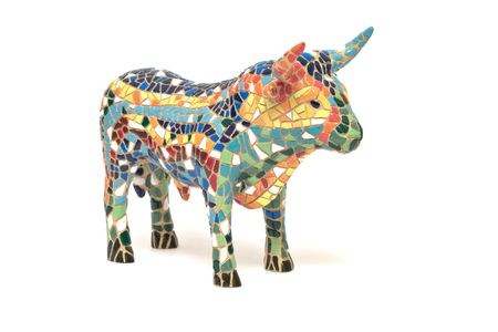 made in china: Spanish bull souvenir made of china, white background