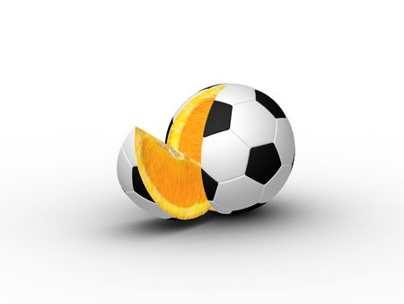 football kick: Either orange in a soccer ball skin, or football stuffed with an orange. (Remember slice ball in soccer or tennis?). 3D model on a white background.