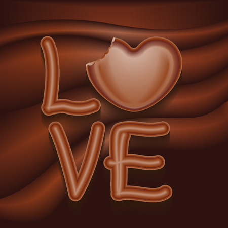 The word Love In Chocolate