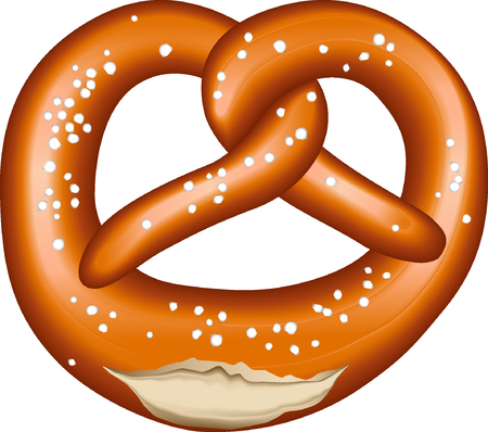 cracked pretzel with salt Ilustrace
