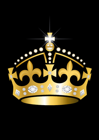 Keep calm crown in gold with diamonds