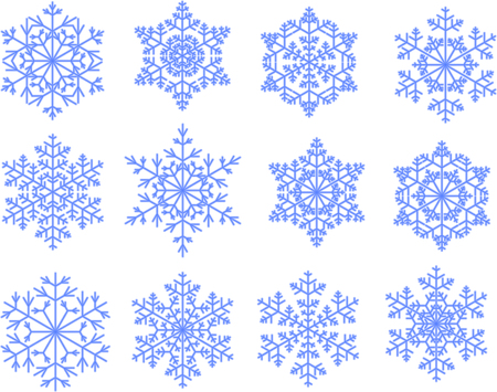 Collection of Snowflakes in Blue Global Ilustração