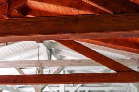 Closeup interior view of a wooden roof structure. Stock Photo - 119307495