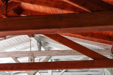 Closeup interior view of a wooden roof structure. Stock Photo - 119308058