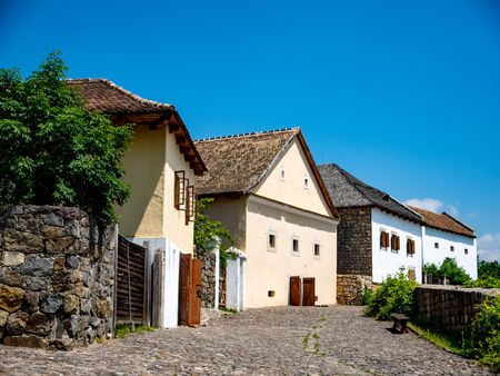 View on the streets and the traditional hungarian pise houses on a sunny day in Szentendre, Hungary on a sunny day.