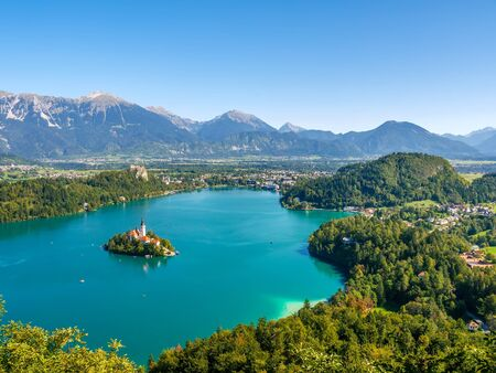 Aerial view on the Pilgrimage Church of the Assumption of Maria on the Lake Bled on a sunny autumn day.