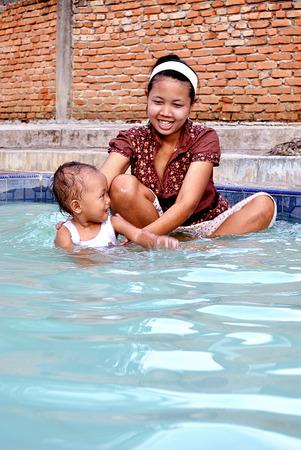 The little girl bath photo