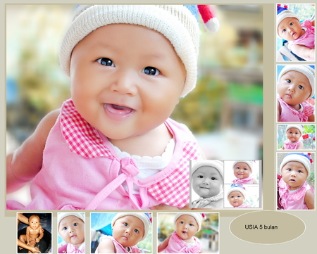 Collection of baby pictures at the age of 5 months photo