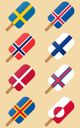 Nordic, Scandinavian countries flags ice cream