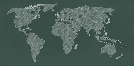 World map on chalkboard. Vector illustration. Stock fotó - 129604520