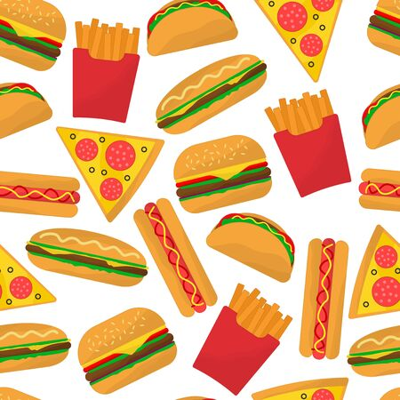 Fastfood seamless vector pattern. Burgers, french fries, hot dogs, tacos and pizza on it.