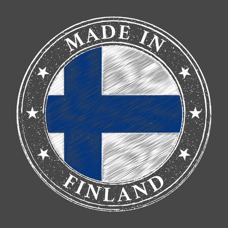 Made in Finland flag grunge stamp. Vector illustration