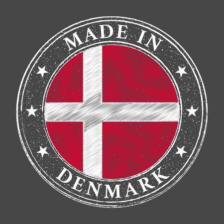 Made in Denmark flag grunge stamp. Vector illustration