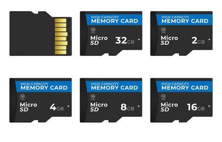 Set of various capacity micro SD flash cards. Illusztráció