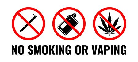 No vaping, No smoking. Vector illustration