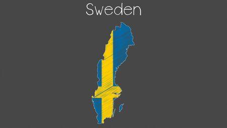 Sweden map flag chalkboard style vector illustration. 일러스트