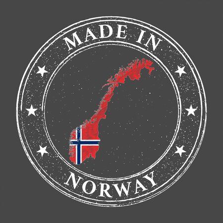 Made in Norway map flag grunge stamp. Vector illustration.