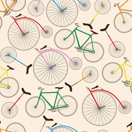 Retro bicycle texture. Seamless vector pattern