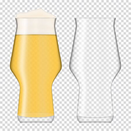 Two beer realistic glasses. One empty glass and glass full with pale beer. Fully transparent.