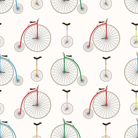 Retro bicycle texture. Unicycle and penny farthing.